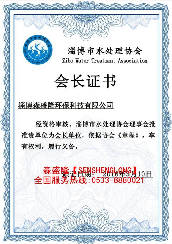 水处理协会会长单位证书